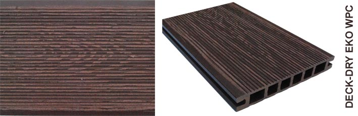 Deska tarasowa eko wpc kompozytowa ciemny brąz drobny wzór