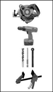 Narzędzia do montażu tarasu drewnianego - zdjęcie narzędzi