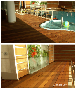 Basen i drewno kompozytowe na basenie