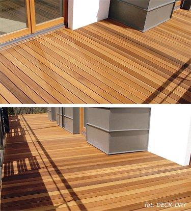 Wyjście balkonowe i podłoga drewniana na tarasie