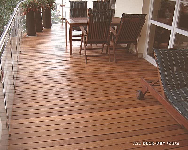 balkon, drewno w syst. DECK-DRY: